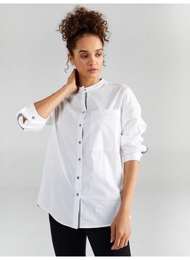 Faik Sönmez  Şerit Detaylı Uzun Kol Gömlek 61341 Beyaz